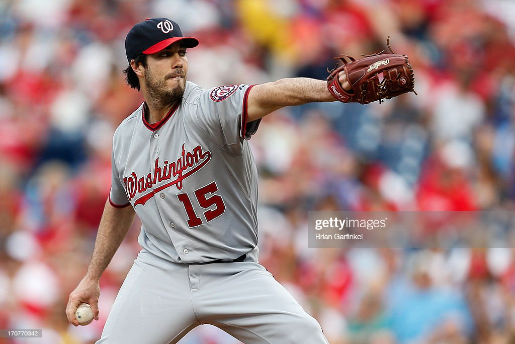 Starter <a gi-track='captionPersonalityLinkClicked' href=/galleries/search?phrase=Dan+Haren&family=editorial&specificpeople=228587 ng-click='$event.stopPropagation()'>Dan Haren</a> #15 of the Washington Nationals throws a pitch in the first inning of the game against the Philadelphia Phillies at Citizens Bank Park on June 17, 2013 in Philadelphia, Pennsylvania.