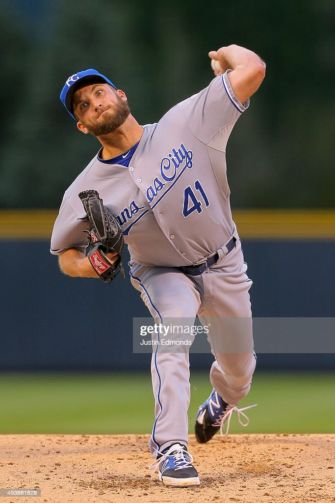 Starter <a gi-track='captionPersonalityLinkClicked' href=/galleries/search?phrase=Danny+Duffy&family=editorial&specificpeople=5971971 ng-click='$event.stopPropagation()'>Danny Duffy</a> #41 of the Kansas City Royals pitches during the first inning against the Colorado Rockies at Coors Field on August 20, 2014 in Denver, Colorado.