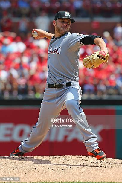 Starter David Phelps of the Miami Marlins pitches against the St Louis Cardinals in the first inning at Busch Stadium on August 16 2015 in St Louis...
