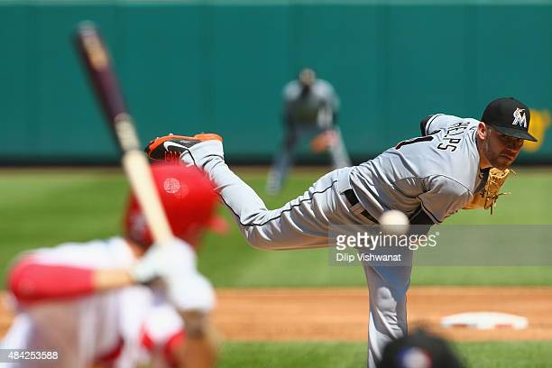 Starter David Phelps of the Miami Marlins pitches against the St Louis Cardinals iin the third inning at Busch Stadium on August 16 2015 in St Louis...