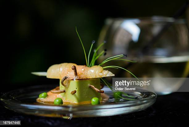 A starter dish of 'Petit pois carre et son ecume de Carottes vers de farine' peas carrots and worms is prepared by French chef David Faure in his...