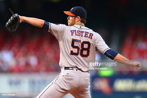 Starter Doug Fister of the Houston Astros pitches against the St Louis Cardinals in the first inning at Busch Stadium on June 14 2016 in St Louis...