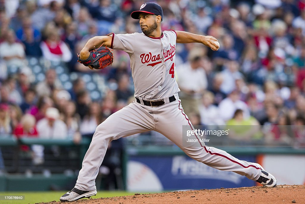 Starter <a gi-track='captionPersonalityLinkClicked' href=/galleries/search?phrase=Gio+Gonzalez&family=editorial&specificpeople=759378 ng-click='$event.stopPropagation()'>Gio Gonzalez</a> #47 of the Washington Nationals pitches during the third inning against the Cleveland Indians at Progressive Field on June 14, 2013 in Cleveland, Ohio.