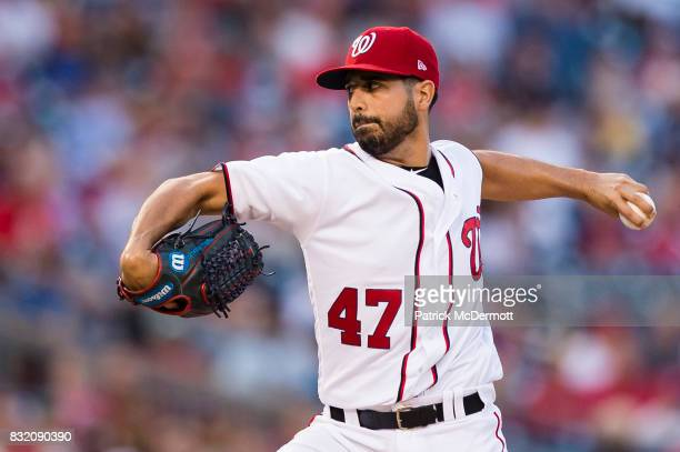 Starter Gio Gonzalez of the Washington Nationals throws a pitch against the Los Angeles Angels of Anaheim in the second inning during a game at...
