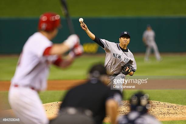 Starter Hiroki Kuroda of the New York Yankees pitches against the St Louis Cardinals in the third inning at Busch Stadium on May 28 2014 in St Louis...
