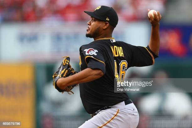Starter Ivan Nova of the Pittsburgh Pirates pitches against the St Louis Cardinals in the first inning at Busch Stadium on April 17 2017 in St Louis...