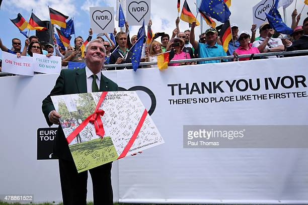 Starter Ivor Robson is presented with a leaving gift during the BMW International Open day four at the Eichenried Golf Club on June 28 2015 in Munich...