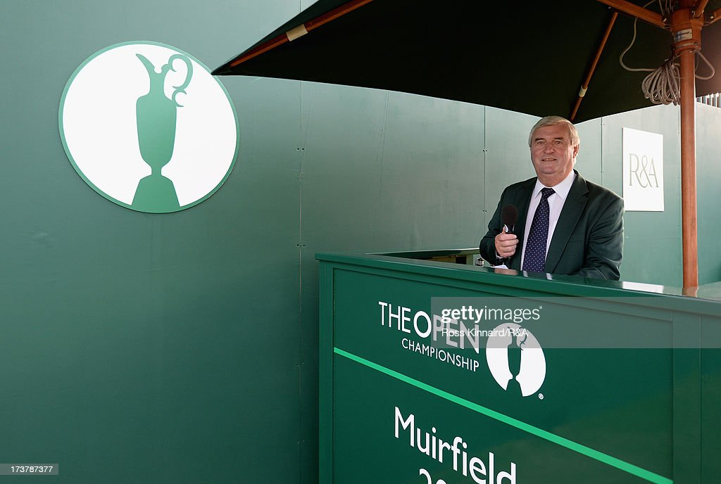 Starter Ivor Robson prepares to announce the first group on the 1st tee prior to the first round of the 142nd Open Championship at Muirfield on July 18, 2013 in Gullane, Scotland.