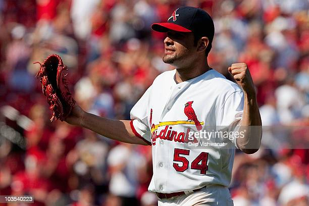 Starter Jaime Garcia of the St Louis Cardinals celebrates his threehit game against the San Francisco Giants at Busch Stadium on August 22 2010 in St...