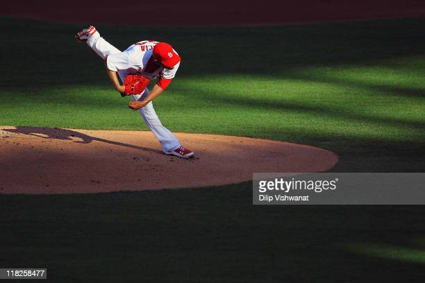 Starter Jaime Garcia of the St Louis Cardinals pitches against the Cincinnati Reds at Busch Stadium on July 5 2011 in St Louis Missouri