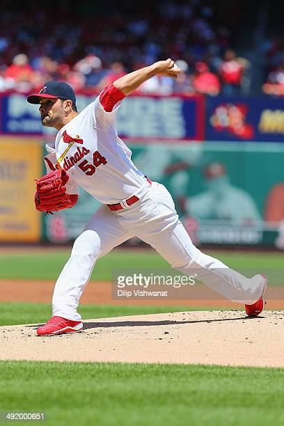 Starter Jaime Garcia of the St Louis Cardinals pitches against the Atlanta Braves at Busch Stadium on May 18 2014 in St Louis Missouri
