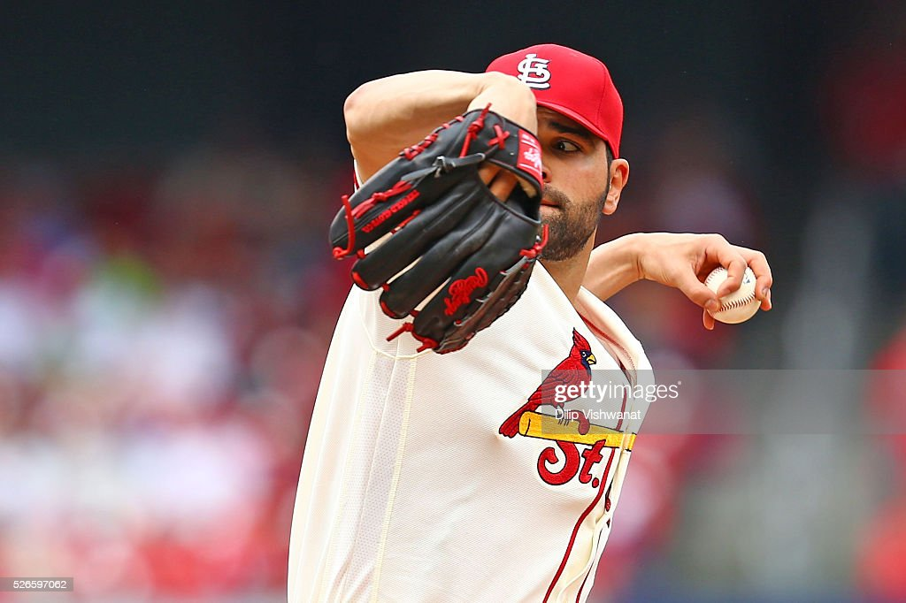 Starter <a gi-track='captionPersonalityLinkClicked' href=/galleries/search?phrase=Jaime+Garcia+-+Baseball+Player&family=editorial&specificpeople=7620904 ng-click='$event.stopPropagation()'>Jaime Garcia</a> #54 of the St. Louis Cardinals pitches against the Washington Nationals in the first inning at Busch Stadium on April 30, 2016 in St. Louis, Missouri.