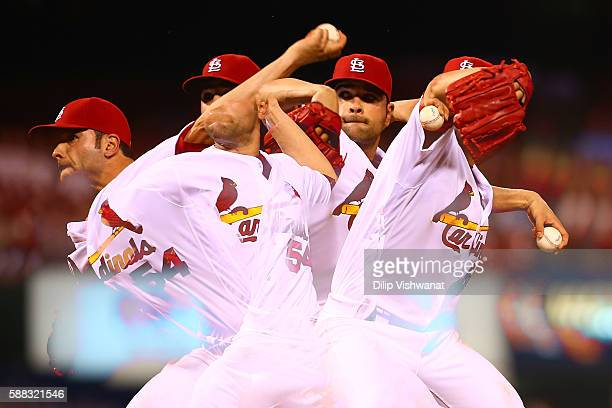 Starter Jaime Garcia of the St Louis Cardinals pitches against the Cincinnati Reds in the eighth inning at Busch Stadium on August 10 2016 in St...