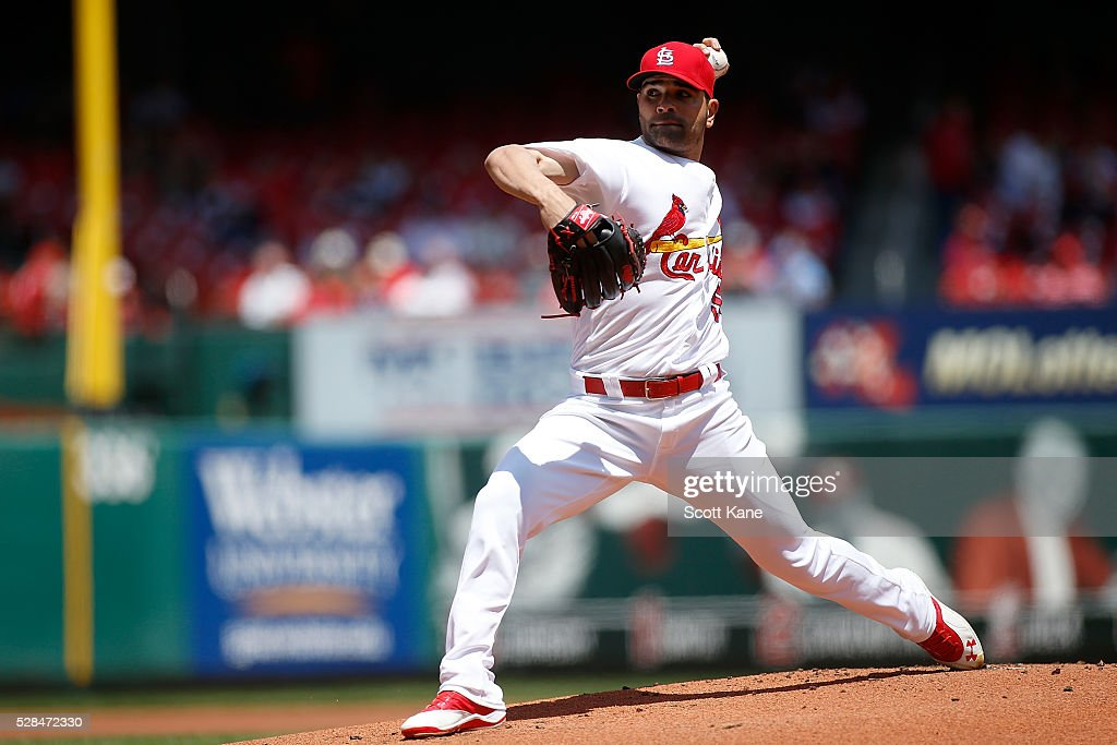 Starter Jaime Garcia #54 of the St. Louis Cardinals pitches during the first inning against the Philadelphia Phillies at Busch Stadium on May 5, 2016 in St. Louis, Missouri.