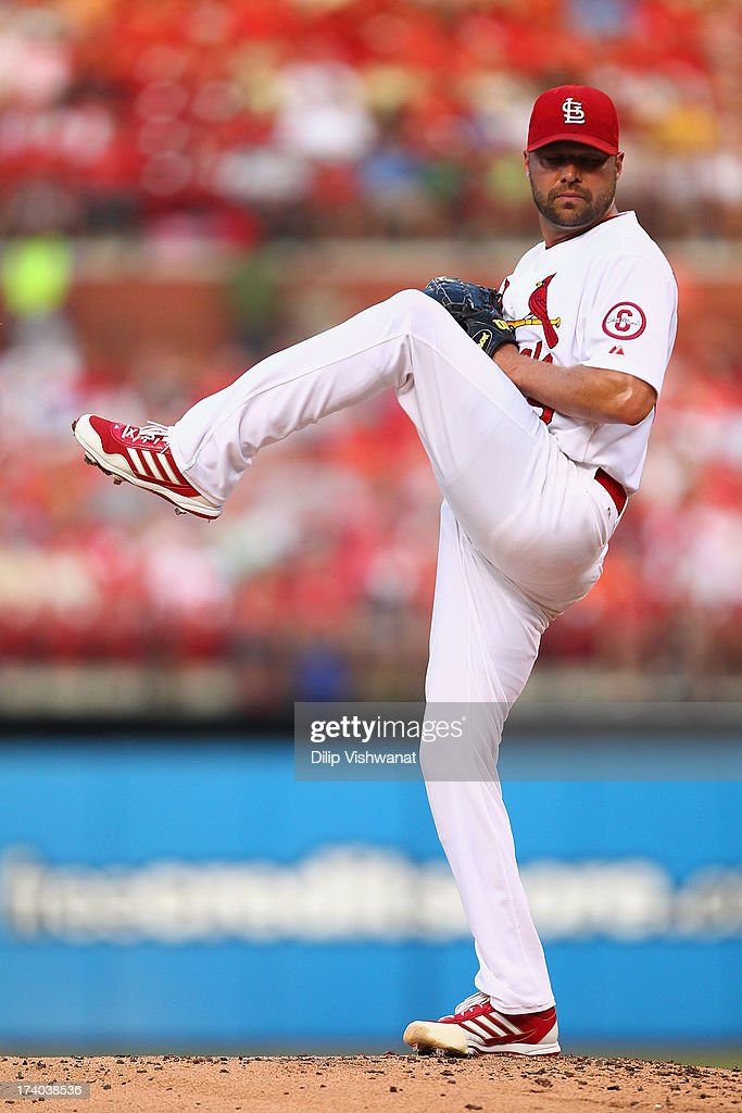 Starter <a gi-track='captionPersonalityLinkClicked' href=/galleries/search?phrase=Jake+Westbrook&family=editorial&specificpeople=207132 ng-click='$event.stopPropagation()'>Jake Westbrook</a> #35 of the St. Louis Cardinals pitches against the San Diego Padres at Busch Stadium on July 19, 2013 in St. Louis, Missouri.