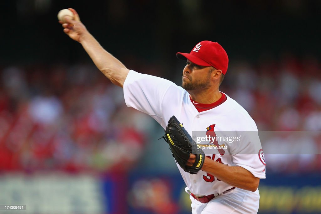 Starter <a gi-track='captionPersonalityLinkClicked' href=/galleries/search?phrase=Jake+Westbrook&family=editorial&specificpeople=207132 ng-click='$event.stopPropagation()'>Jake Westbrook</a> #35 of the St. Louis Cardinals pitches against the Philadelphia Phillies at Busch Stadium on July 24, 2013 in St. Louis, Missouri.
