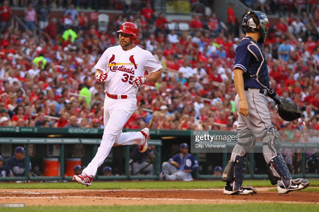 Starter <a gi-track='captionPersonalityLinkClicked' href=/galleries/search?phrase=Jake+Westbrook&family=editorial&specificpeople=207132 ng-click='$event.stopPropagation()'>Jake Westbrook</a> #35 of the St. Louis Cardinals scores a run against the San Diego Padres int he third inning at Busch Stadium on July 19, 2013 in St. Louis, Missouri.