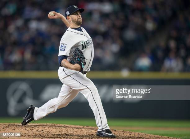 Starter James Paxton of the Seattle Mariners delivers a pitch during the fourth inning of the home opener against the Houston Astros at Safeco Field...