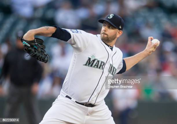 Starter James Paxton of the Seattle Mariners delivers a pitch during the first inning of a game against the Philadelphia Phillies at Safeco Field on...