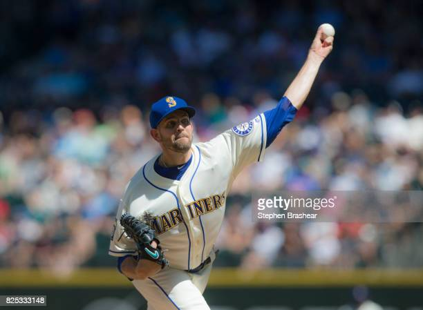 Starter James Paxton of the Seattle Mariners interleague game at Safeco Field on July 30 2017 in Seattle Washington The Mariners won the game 91