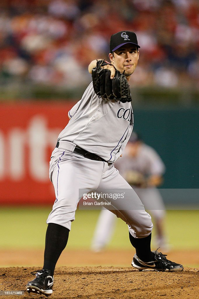 Starter <a gi-track='captionPersonalityLinkClicked' href=/galleries/search?phrase=Jeff+Francis&family=editorial&specificpeople=220827 ng-click='$event.stopPropagation()'>Jeff Francis</a> #26 of the Colorado Rockies pitches during the game against the Philadelphia Phillies at Citizens Bank Park on September 7, 2012 in Philadelphia, Pennsylvania.