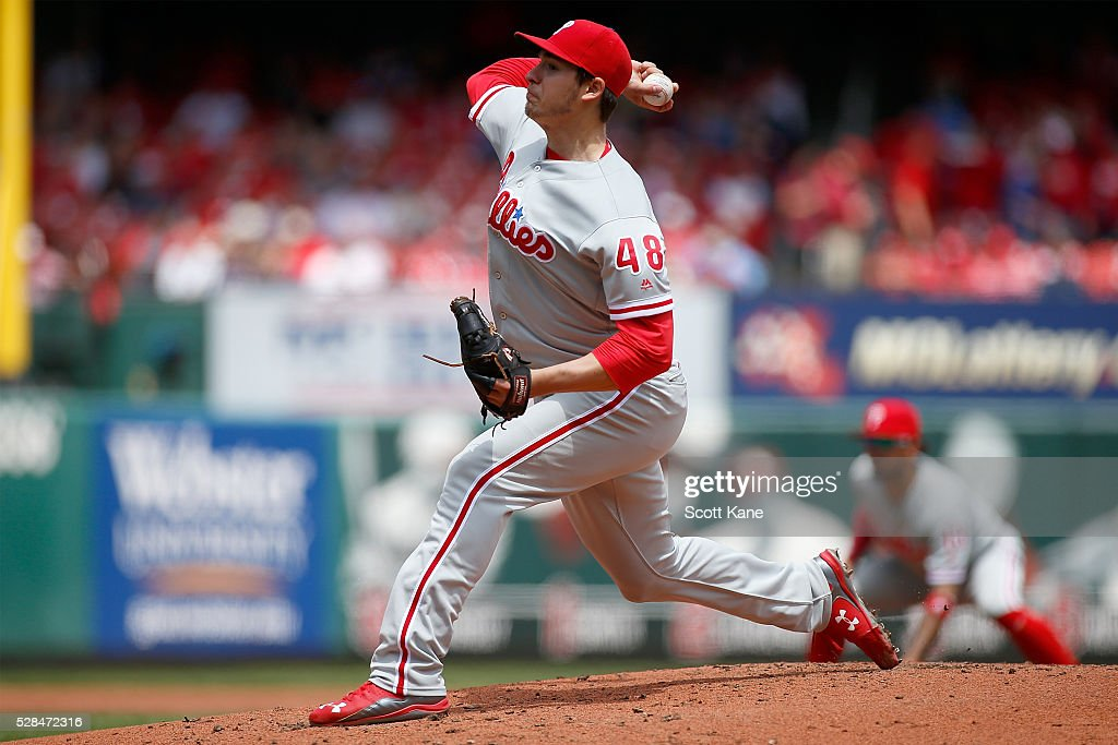 Starter Jerad Eickhoff #48 of the Philadelphia Phillies pitches during the first inning against the St. Louis Cardinals at Busch Stadium on May 5, 2016 in St. Louis, Missouri.