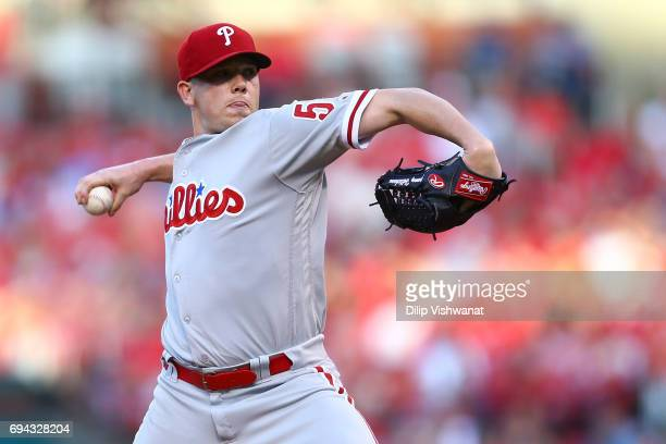 Starter Jeremy Hellickson of the the Philadelphia Phillies delivers a pitch against the St Louis Cardinals in the first inning at Busch Stadium on...