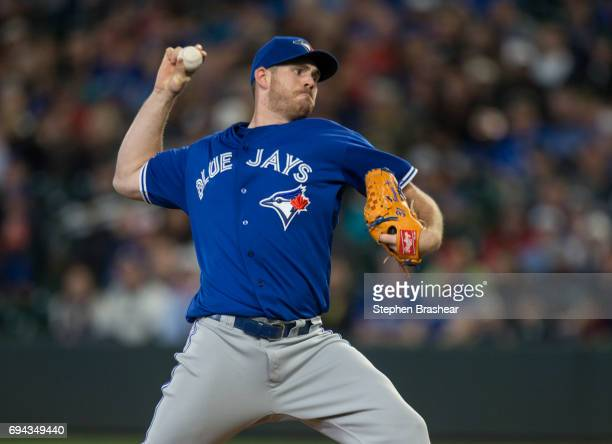 Starter Joe Biagini of the Toronto Blue Jays delivers a pitch during the first inning of a game against the Seattle Mariners at Safeco Field on June...