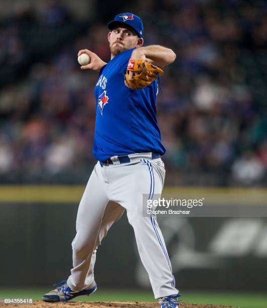Starter Joe Biagini of the Toronto Blue Jays delivers a pitch during the fourth inning of a game against the Seattle Mariners at Safeco Field on June...