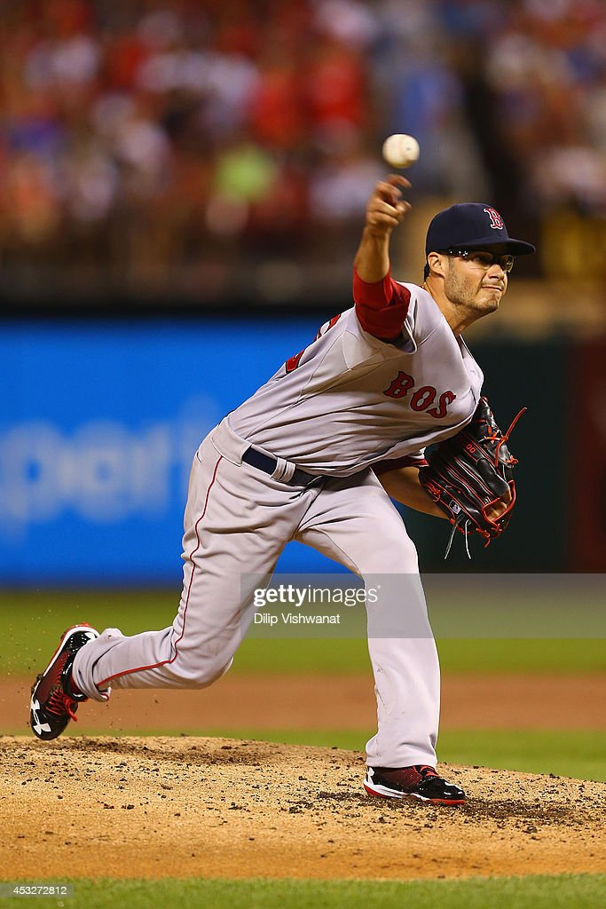 Starter Joe Kelly #56 of the Boston Red Sox pitches against the St. Louis Cardinals in the first inning at Busch Stadium on August 6, 2014 in St. Louis, Missouri.