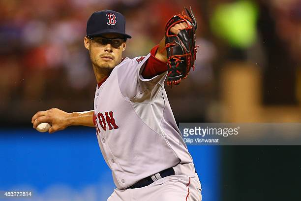 Starter Joe Kelly of the Boston Red Sox pitches against the St Louis Cardinals in the first inning at Busch Stadium on August 6 2014 in St Louis...