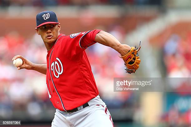 Starter Joe Ross of the Washington Nationals pitches against the St Louis Cardinals in the second inning at Busch Stadium on April 30 2016 in St...