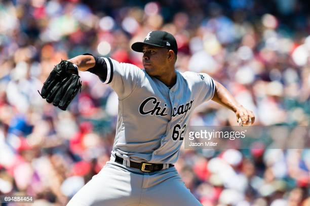 Starter Jose Quintana of the Chicago White Sox pitches during the first inning against the Cleveland Indians at Progressive Field on June 11 2017 in...