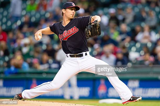 Starter Josh Tomlin of the Cleveland Indians pitches during the first inning against the Milwaukee Brewers at Progressive Field on August 25 2015 in...