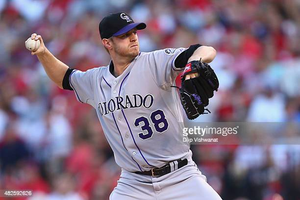 Starter Kyle Kendrick of the Colorado Rockies pitches against the St Louis Cardinals in the second inning at Busch Stadium on July 31 2015 in St...