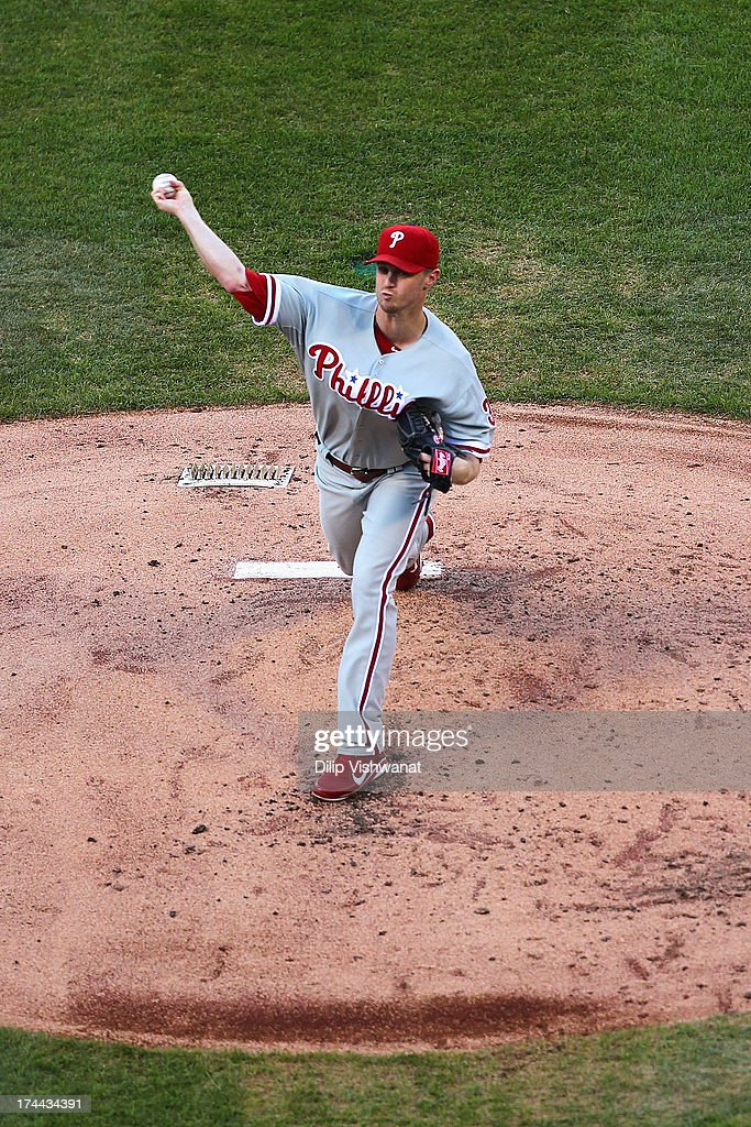 Starter <a gi-track='captionPersonalityLinkClicked' href=/galleries/search?phrase=Kyle+Kendrick&family=editorial&specificpeople=4365300 ng-click='$event.stopPropagation()'>Kyle Kendrick</a> #38 of the Philadelphia Phillies pitches against the St. Louis Cardinals at Busch Stadium on July 25, 2013 in St. Louis, Missouri.