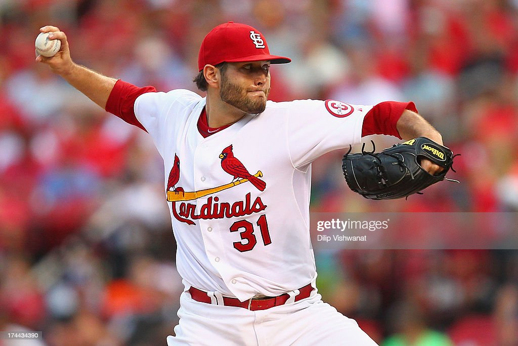 Starter <a gi-track='captionPersonalityLinkClicked' href=/galleries/search?phrase=Lance+Lynn&family=editorial&specificpeople=6800756 ng-click='$event.stopPropagation()'>Lance Lynn</a> #31 of the St. Louis Cardinals pitches against the Philadelphia Phillies at Busch Stadium on July 25, 2013 in St. Louis, Missouri.