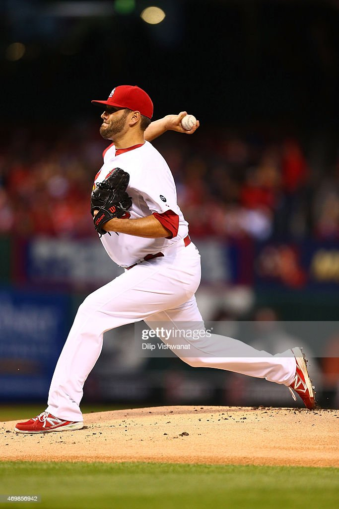Starter Lance Lynn of the St Louis Cardinals pitches against the Milwaukee Brewers at Busch Stadium on April 15 2015 in St Louis Missouri All...