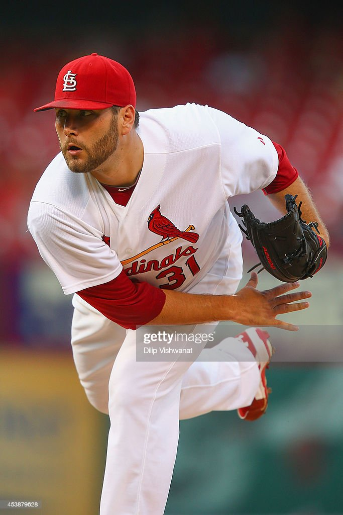 Starter Lance Lynn of the St Louis Cardinals pitches against the Cincinnati Reds in the first inning at Busch Stadium on August 20 2014 in St Louis...