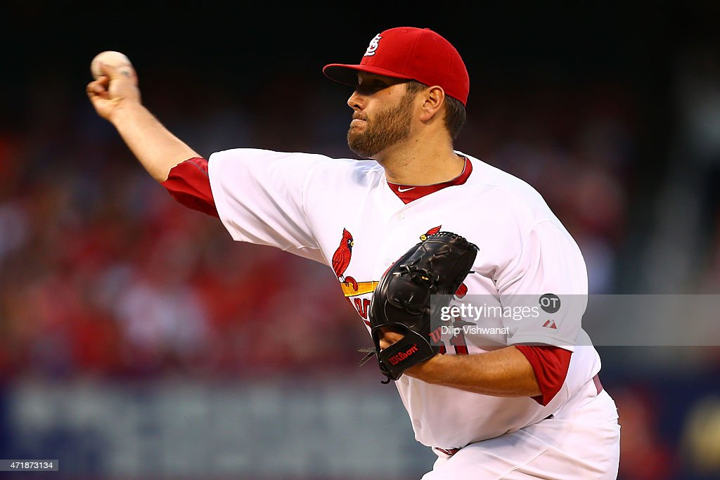 Starter Lance Lynn of the St Louis Cardinals pitches against the Pittsburgh Pirates in the first inning at Busch Stadium on May 1 2015 in St Louis...