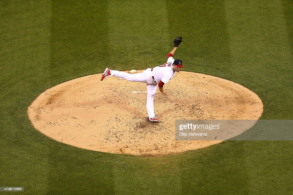 Starter Lance Lynn of the St Louis Cardinals pitches against the Detroit Tigers in the fourth inning at Busch Stadium on May 17 2015 in St Louis...
