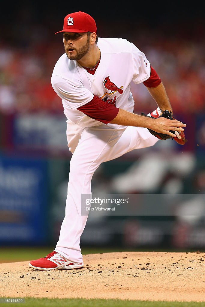 Starter Lance Lynn of the St Louis Cardinals pitches against the Cincinnati Reds in the first inning at Busch Stadium on July 27 2015 in St Louis...