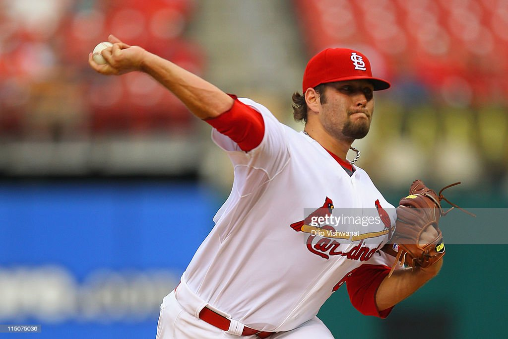 Starter Lance Lynn #62 of the St. Louis Cardinals pitches against the San Francisco Giants in his major league debut at Busch Stadium on June 2, 2011 in St. Louis, Missouri.