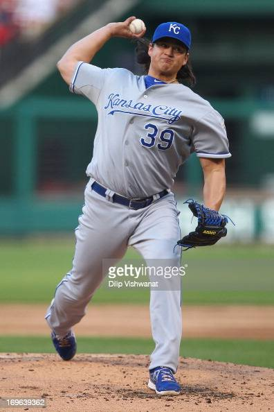 Starter Luis Mendoza of the Kansas City Royals pitches against the St Louis Cardinals at Busch Stadium on May 29 2013 in St Louis Missouri