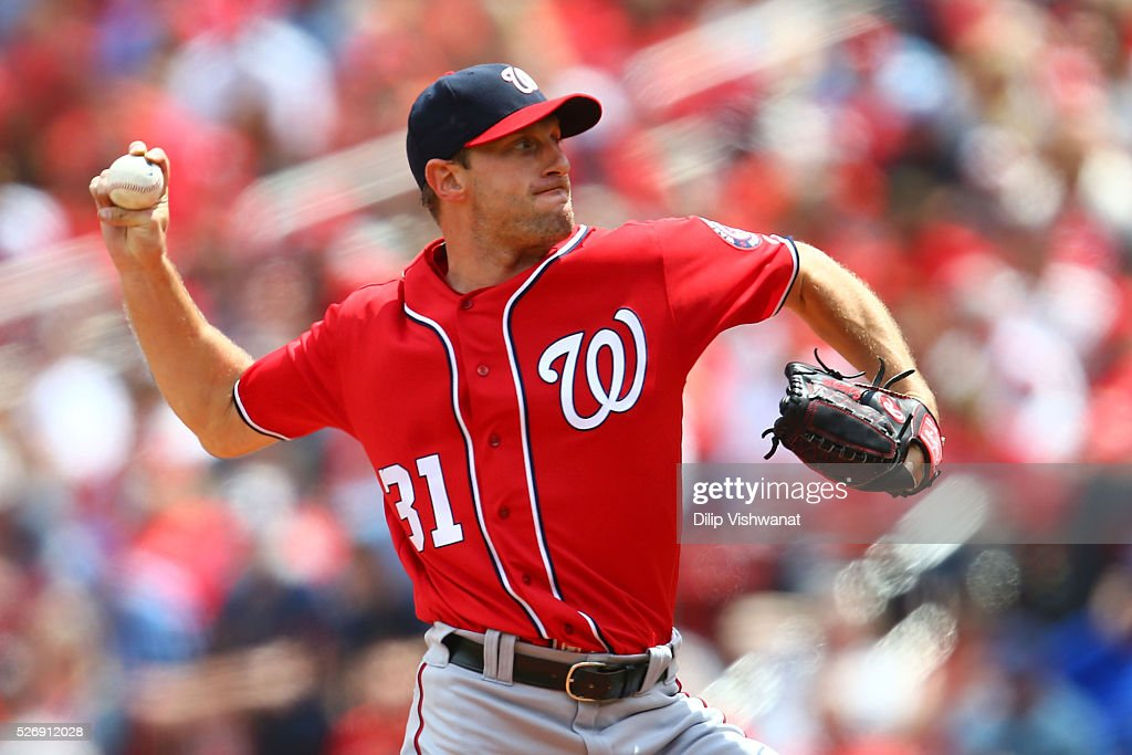 Starter <a gi-track='captionPersonalityLinkClicked' href=/galleries/search?phrase=Max+Scherzer&family=editorial&specificpeople=594071 ng-click='$event.stopPropagation()'>Max Scherzer</a> #31 of the Washington Nationals pitches against the St. Louis Cardinals in the second inning at Busch Stadium on May 1, 2016 in St. Louis, Missouri.