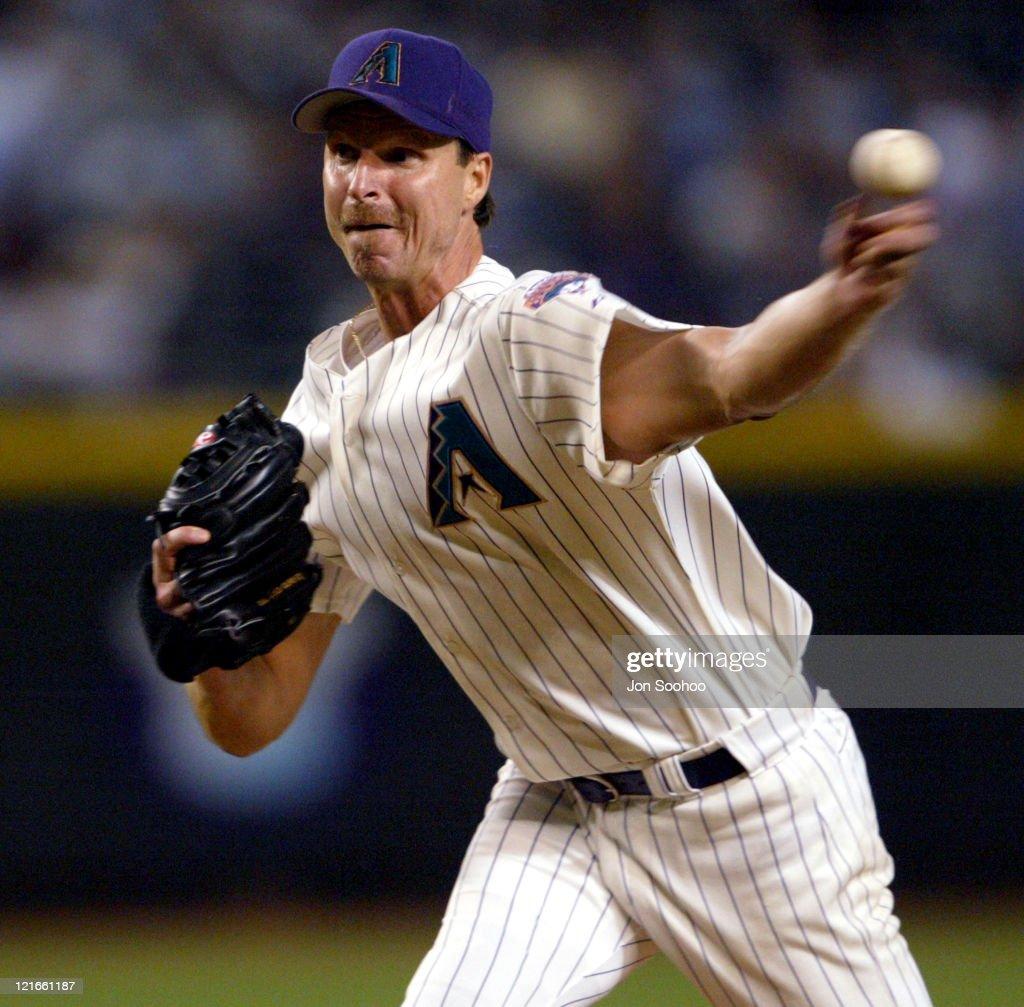 Starter Randy Johnson during Los Angeles Dodgers vs Arizona Diamondbacks September 9 2003 at Bank One Ballpark in Phoniex Arizona United States