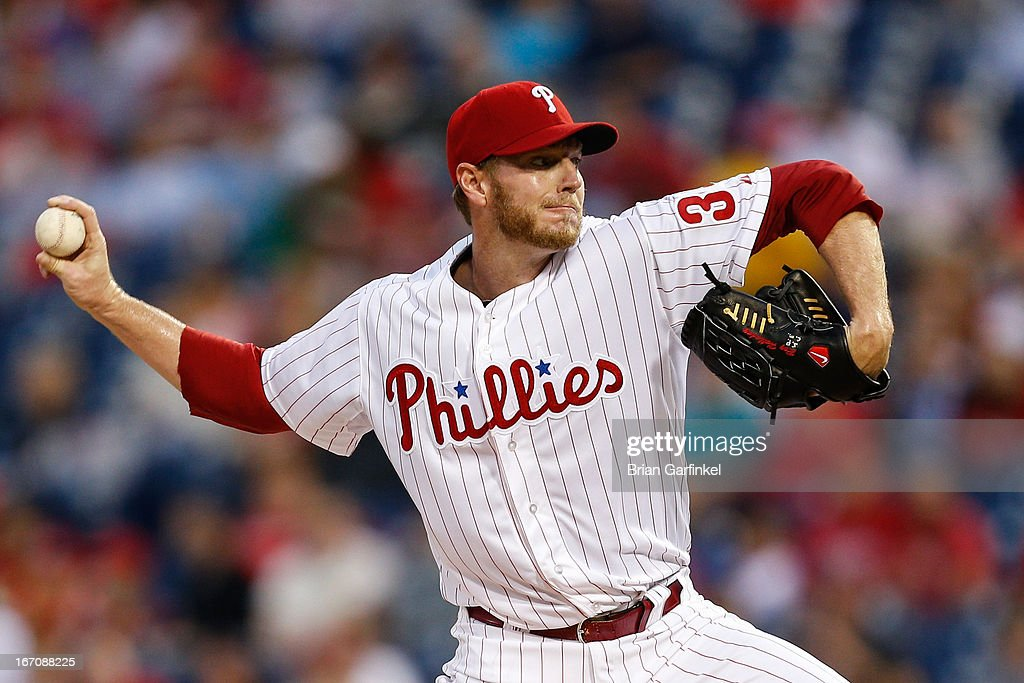 Starter <a gi-track='captionPersonalityLinkClicked' href=/galleries/search?phrase=Roy+Halladay&family=editorial&specificpeople=208782 ng-click='$event.stopPropagation()'>Roy Halladay</a> #34 of the Philadelphia Phillies throws a pitch during the game against the St. Louis Cardinals at Citizens Bank Park on April 19, 2013 in Philadelphia, Pennsylvania.