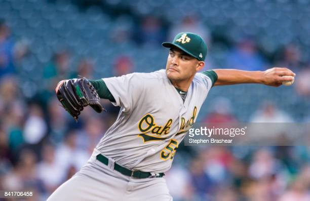 Starter Sean Manaea of the Oakland Athletics delivers a pitch during the first inning of a game against the Seattle Mariners at Safeco Field on...