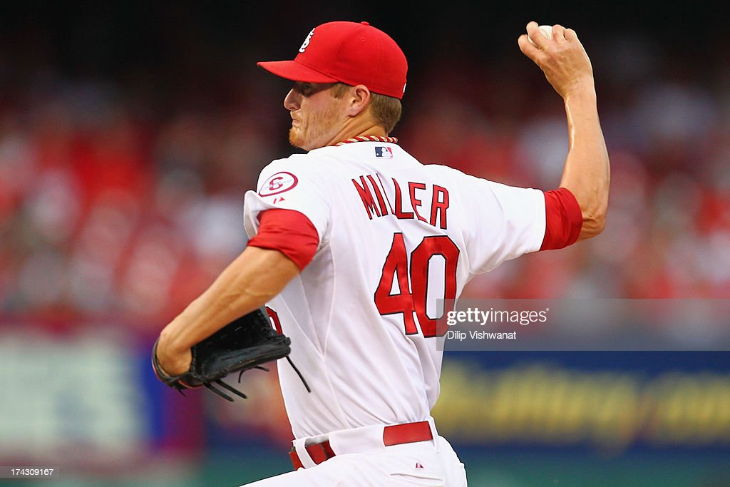 Starter <a gi-track='captionPersonalityLinkClicked' href=/galleries/search?phrase=Shelby+Miller&family=editorial&specificpeople=4761626 ng-click='$event.stopPropagation()'>Shelby Miller</a> #40 of the St. Louis Cardinals pitches against the Philadelphia Phillies at Busch Stadium on July 23, 2013 in St. Louis, Missouri.