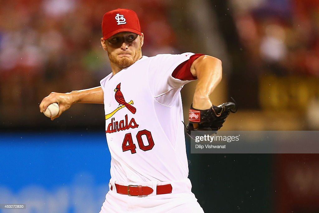 Starter <a gi-track='captionPersonalityLinkClicked' href=/galleries/search?phrase=Shelby+Miller&family=editorial&specificpeople=4761626 ng-click='$event.stopPropagation()'>Shelby Miller</a> #40 of the St. Louis Cardinals pitches against the Boston Red Sox in the first inning at Busch Stadium on August 6, 2014 in St. Louis, Missouri.